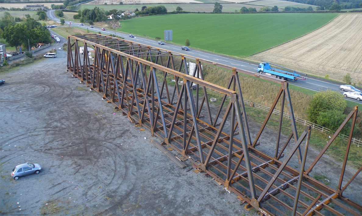 Trial assembly of bridge in Barnsley | Kendal Bridge, Belize