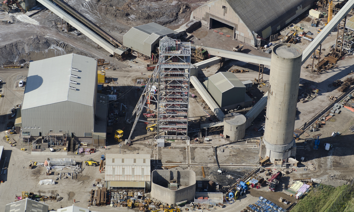 Cleveland Potash, old tower and new headgear after slide | Boulby Mine
