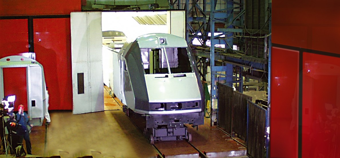 Channel tunnel locomotive superstructure, on completion of manufacture, painting and finishing