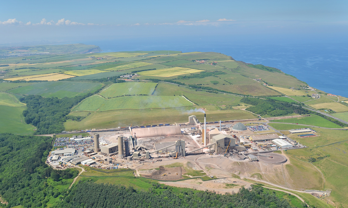 Cleveland Potash, aerial view showing old tower and new headgear under construction | Boulby Mine