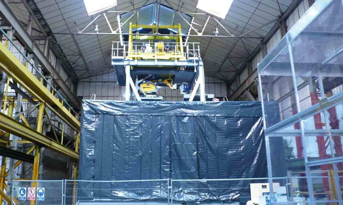 Nuclear waste retrieval machine under simulation test at Qualter Hall