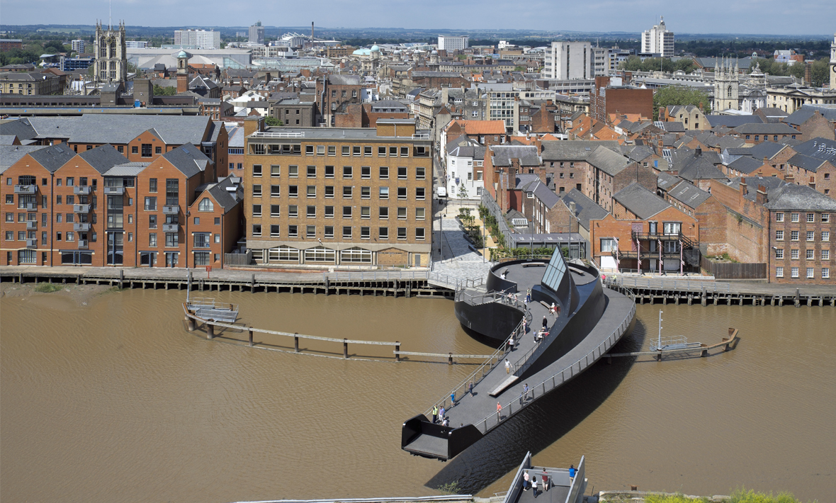Scale Lane Bridge, awarding winning pedestrian swing bridge | Hull