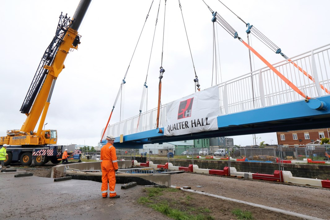 The bridge being installed