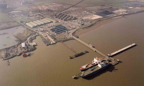 Aerial view Berths 1 and 2 occupied, with Berth 3 empty I Humber Sea Terminal