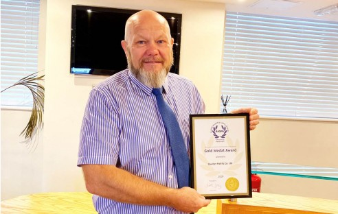 Ivan Tibble with the RoSPA Gold Medal Certificate Award