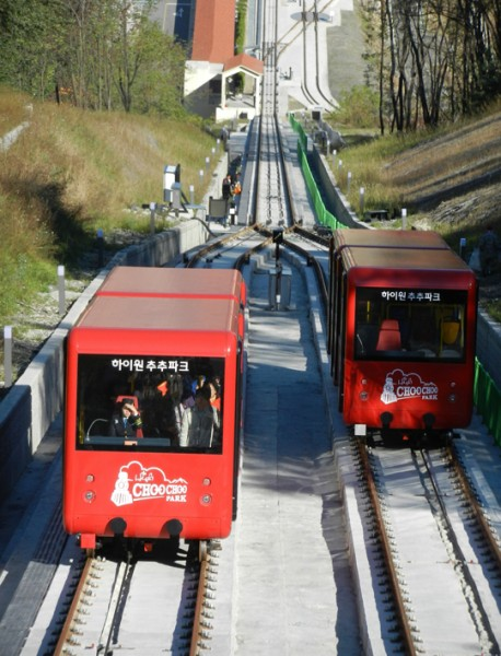 Funicular railway system, the two trains at the central pass I South Korea