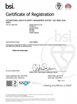 Certificate ISO 45001: 2018