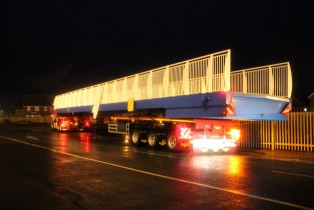 The bridge was transported at night to minimise traffic disruption