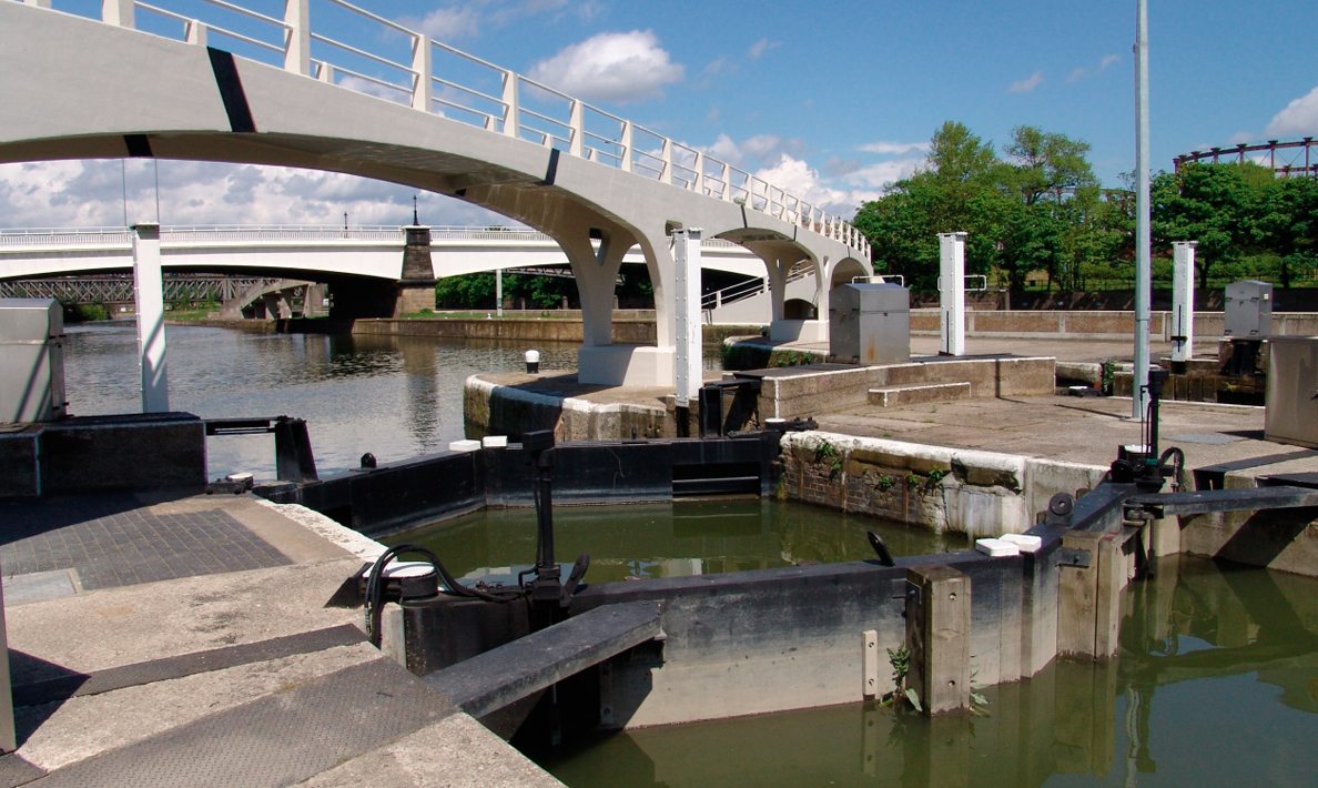 Two pairs of mitre gates Bow Locks  | London
